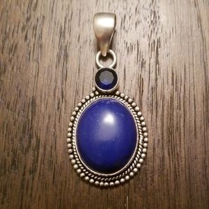 Jewelry - Dark Blue Agate and Sapphire Silver Pendant